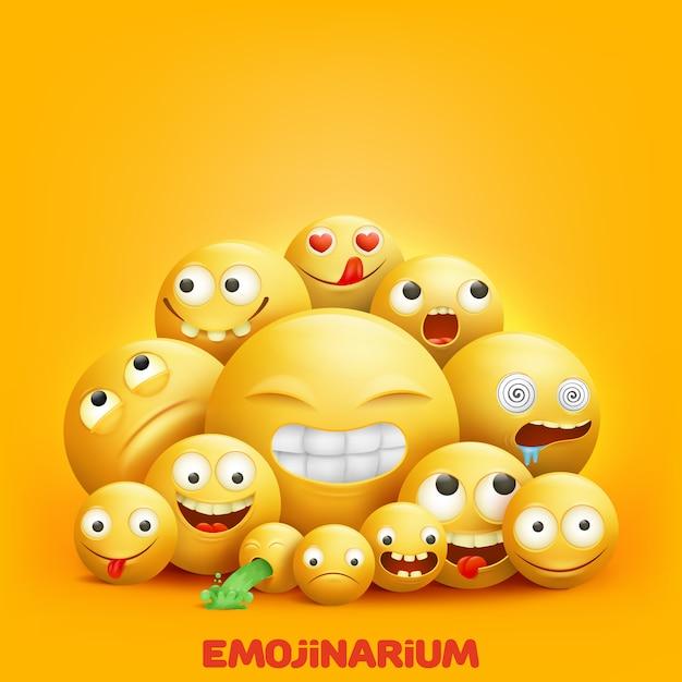 Smiley fait face à un groupe 3d de personnages emoji avec des expressions faciales drôles Vecteur Premium