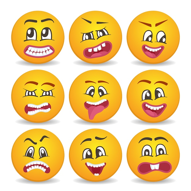 Smiley smileys isolé jeu d'icônes Vecteur Premium