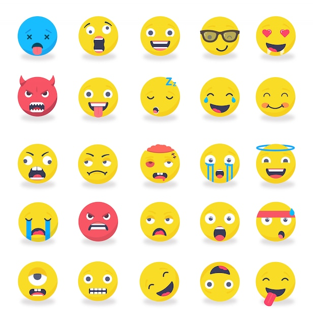 Smileys emoticons mood set plat de couleur Vecteur Premium