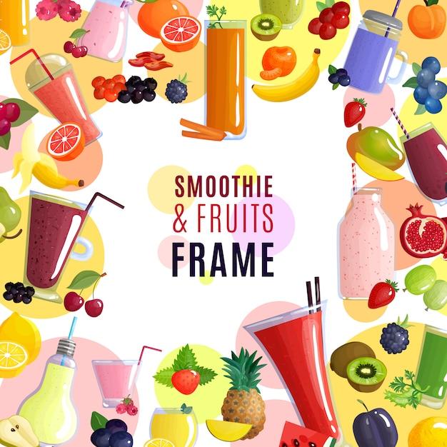 Smoothie et cadre de fruits Vecteur gratuit