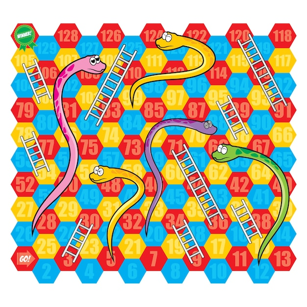 Snake and ladder jeu de plateau vectoriel Vecteur Premium