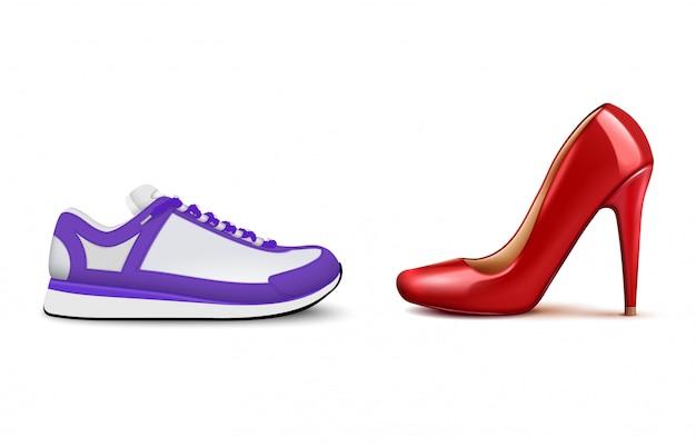 Sneakers Vs Talons Hauts Composition Réaliste Montrant La Popularité Croissante Des Chaussures Décontractées Confortables Pour Femme Vecteur gratuit