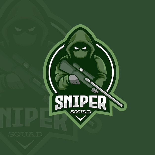 Sniper Assasin Logo Vecteur Premium