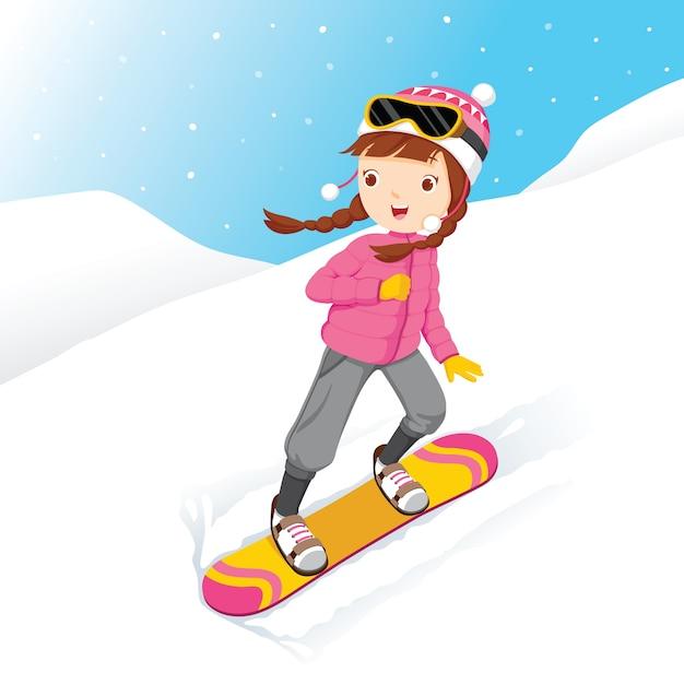 Snowboard Fille, Chute De Neige, Saison D'hiver Vecteur Premium