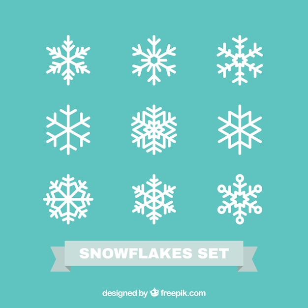 Snowflakes Fixés Dans La Conception Plate Vecteur Premium