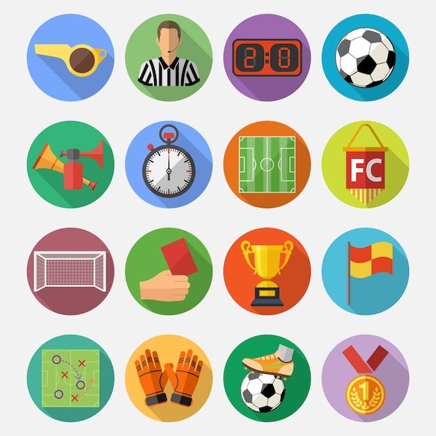 Soccer flat icon set Vecteur Premium