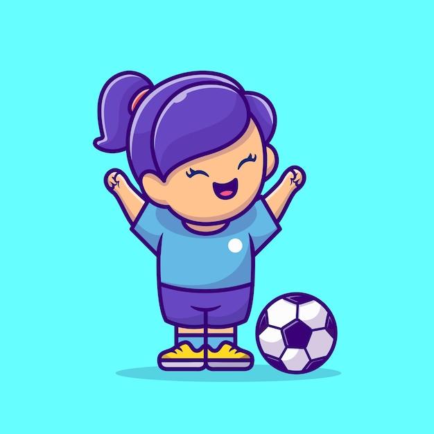 Soccer Girl Cartoon Vector Icon Illustration. Concept D'icône De Sport De Personnes Isolé Vector Premium. Style De Bande Dessinée Plat Vecteur gratuit