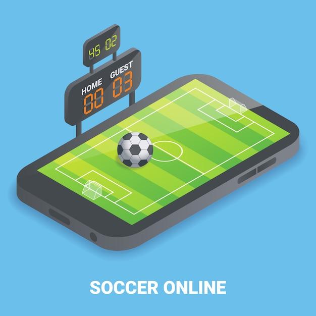 Soccer en ligne plat isométrique Vecteur Premium