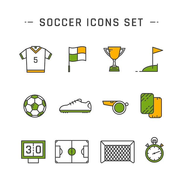 Soccer line icons set design set Vecteur Premium