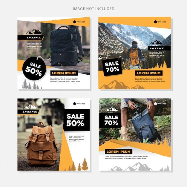 Social media banner vente de sacs à dos Vecteur Premium