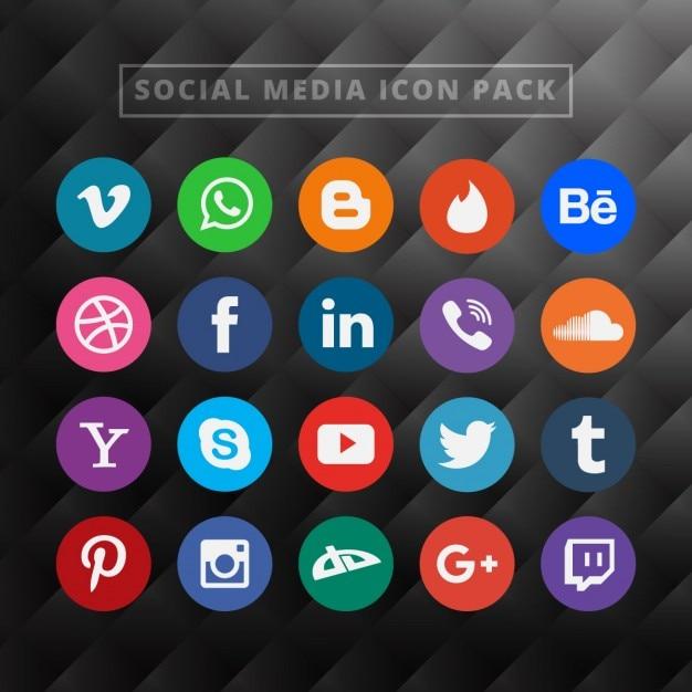 Social Media Pack Icône Vecteur gratuit