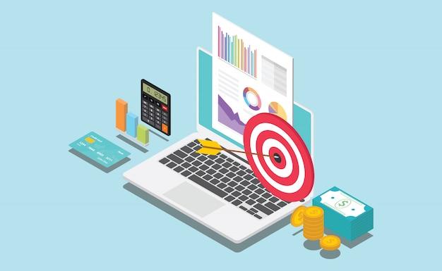 Société financière isométrique ou cible personnelle Vecteur Premium