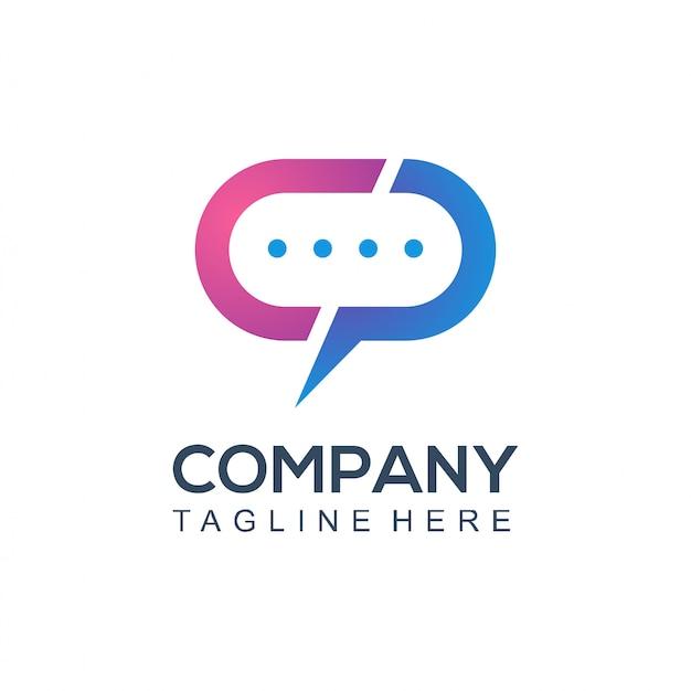 Société de logo de communication Vecteur Premium