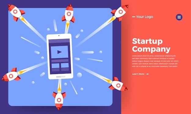 Société De Stratup Concept De Site Web Signifie Montée De Fusée De L'ordinateur. Illustration. Vecteur Premium