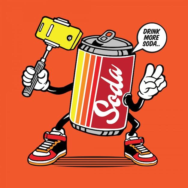 Soda can selfie caractère Vecteur Premium