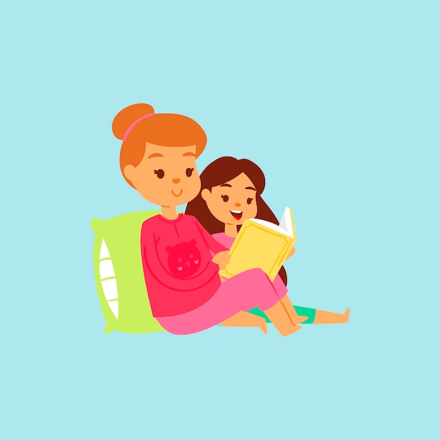 Une Sœur Plus âgée En Costume De Nuit Rose Lit L'histoire De Sa Fille Au Lit. Dessin Animé. Famille Heureux Temps Lire Des Livres Vecteur Premium
