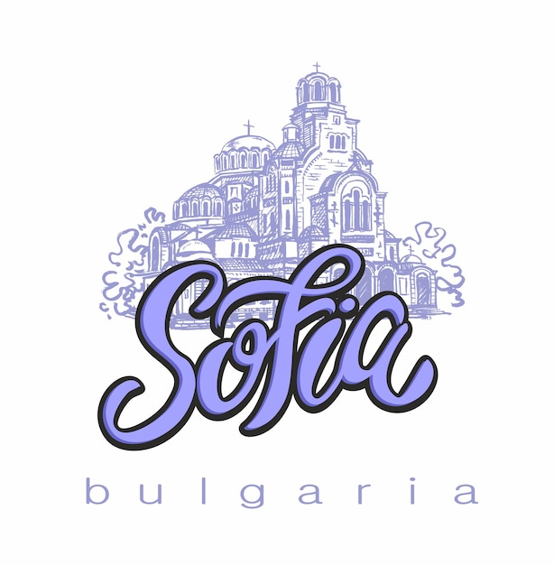 Sofia, bulgarie. esquisser. caractères. Vecteur Premium
