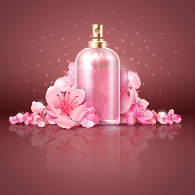 Soin de la peau produit biologique avec des fleurs de cerisier japonais sakura illustration vectorielle Vecteur Premium