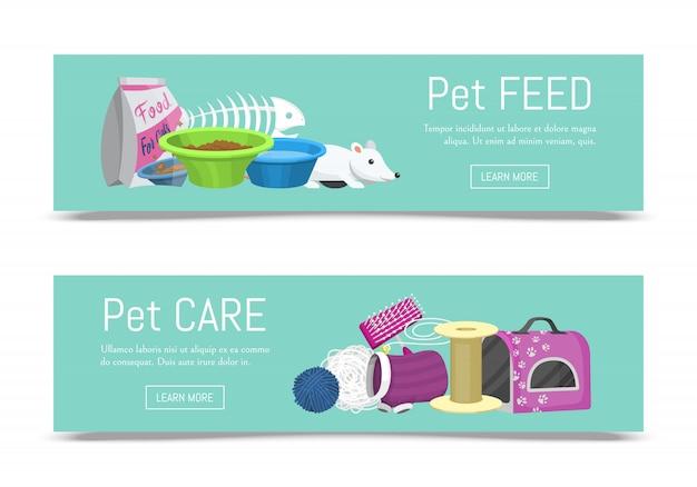 Soins des animaux domestiques illustration vectorielle de bannière web. informations sur l'alimentation des animaux et des chats. accessoires de chat pour la nourriture, les jouets et le matériel de transport, de toilette et de toilettage. Vecteur Premium