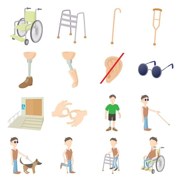 Soins aux personnes handicapées mis en vecteur de style de dessin animé Vecteur Premium