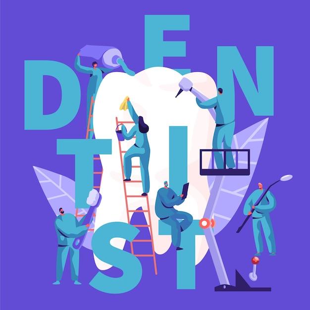 Soins De Caractère Dentiste De La Bannière De Typographie De Grande Dent Blanche. Contexte De La Clinique Dentaire. Les Gens De Médecine Travaillent En Stomatologie Avec Le Concept D'affiche Publicitaire De Brosse à Dents Illustration Vectorielle De Dessin Animé Plat Vecteur Premium