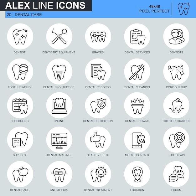 Soins Dentaires De Fine Ligne, équipement De Dentisterie, Vecteur Premium