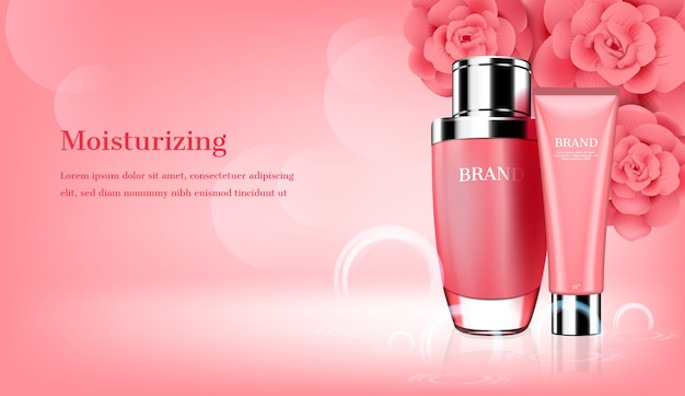 Soins de la peau sertie de modèle de fleurs roses Vecteur Premium