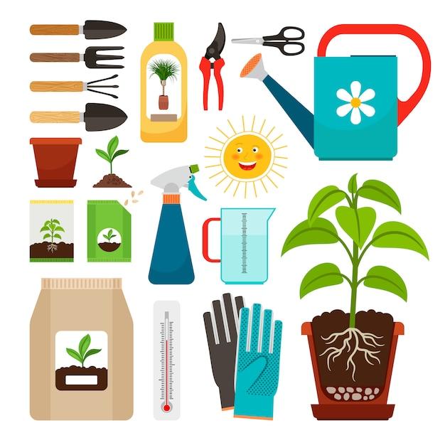Soins des plantes d'intérieur et des icônes de jardinage intérieur Vecteur Premium