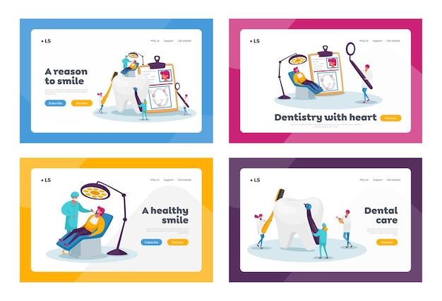 Soins De Santé Dentaires, Programme De Traitement Bucco-dentaire, Ensemble De Modèles De Page De Destination. Vecteur Premium