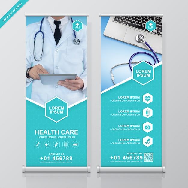 Soins de santé et médical roll up et conception de bannière de voyageur debout Vecteur Premium