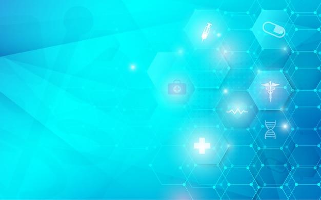 Soins De Santé Et Science Icônes Concept D'innovation Médicale. Abstrait Géométrique Technologie Futuriste Vecteur Premium