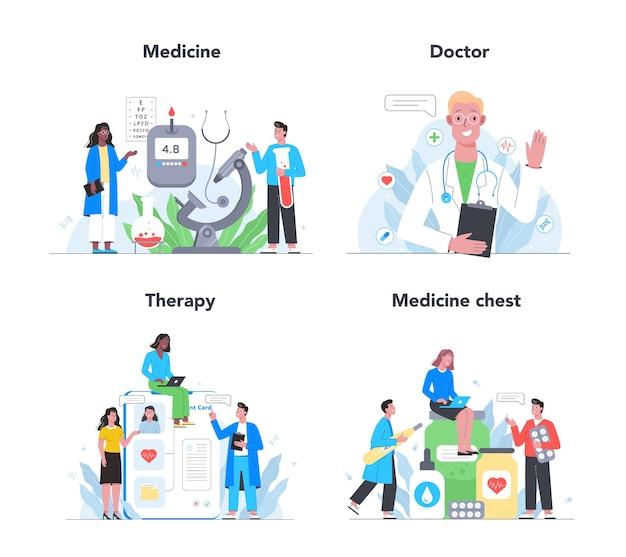 Soins De Santé, Traitement De Médecine Moderne, Expertise, Ensemble De Diagnostic. Médecin Spécialiste En Uniforme. Traitement Médical Et Récupération. Vecteur Premium
