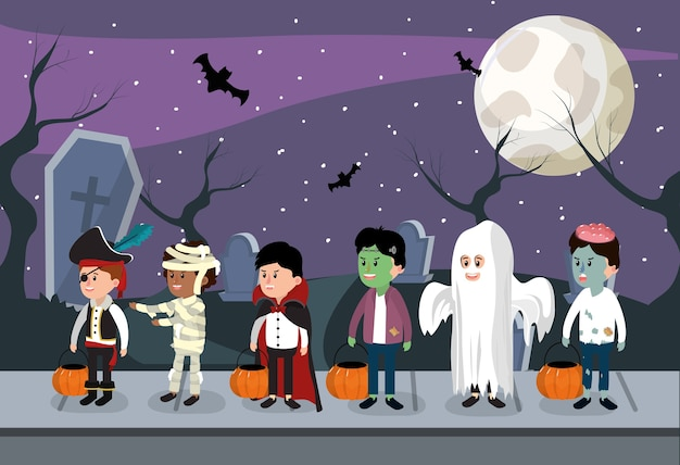 Soirée enfants et halloween Vecteur Premium