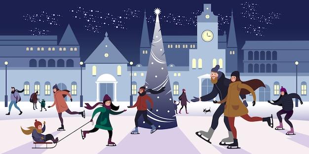 Soirée de fête sur la patinoire extérieure sur la place du centre-ville à la veille de noël. illustration vectorielle plane Vecteur Premium