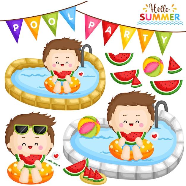 Soirée piscine à la pastèque Vecteur Premium