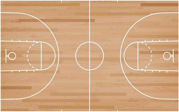 Sol de terrain de basket avec motif de lignes sur fond de bois. Vecteur Premium