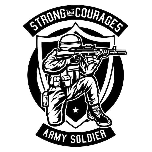 Soldat de l'armée Vecteur Premium