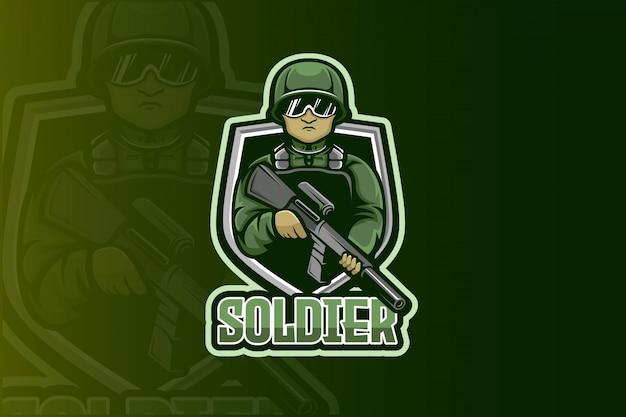 Soldat Esport Logo Vecteur Premium