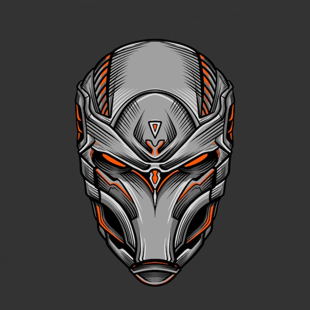 Soldat mask 2 illustration vectorielle Vecteur Premium