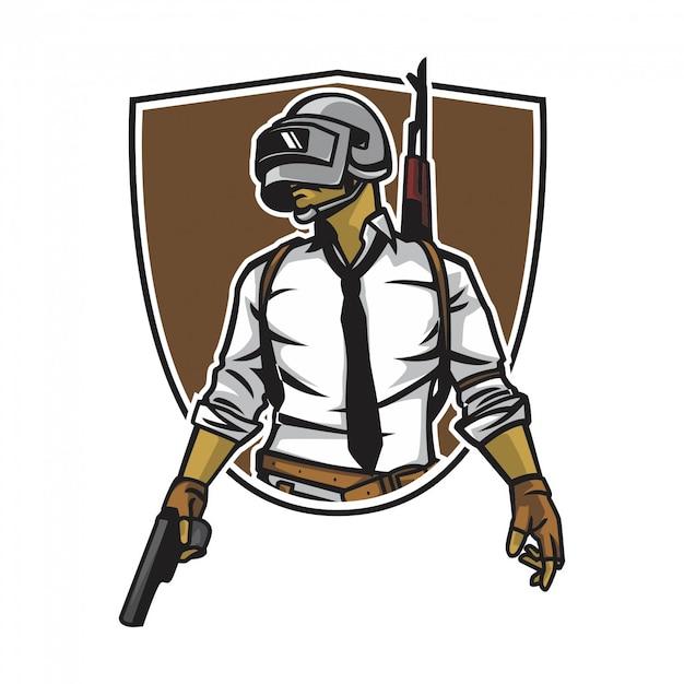 Soldat avec pistolet Vecteur Premium