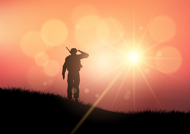 Soldat saluant au coucher du soleil Vecteur gratuit