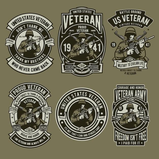 Soldat vétéran Vecteur Premium