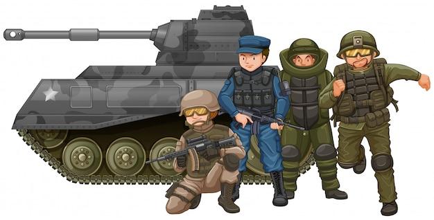 Soldats et char de combat Vecteur Premium