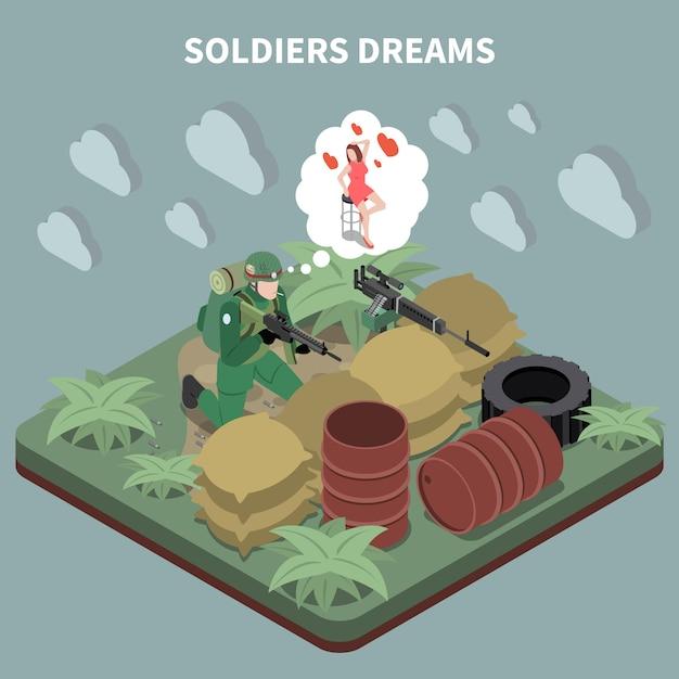 Des Soldats Rêvent D'une Composition Isométrique Avec Un Tireur D'élite Assis Dans Un Retranchement Et Se Souvenant De Sa Petite Amie Vecteur gratuit