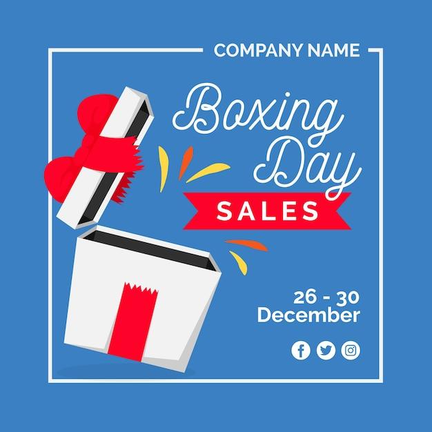 Solde Plat Du Jour De La Boxe Avec Cadeau Ouvert Et Ruban Vecteur gratuit