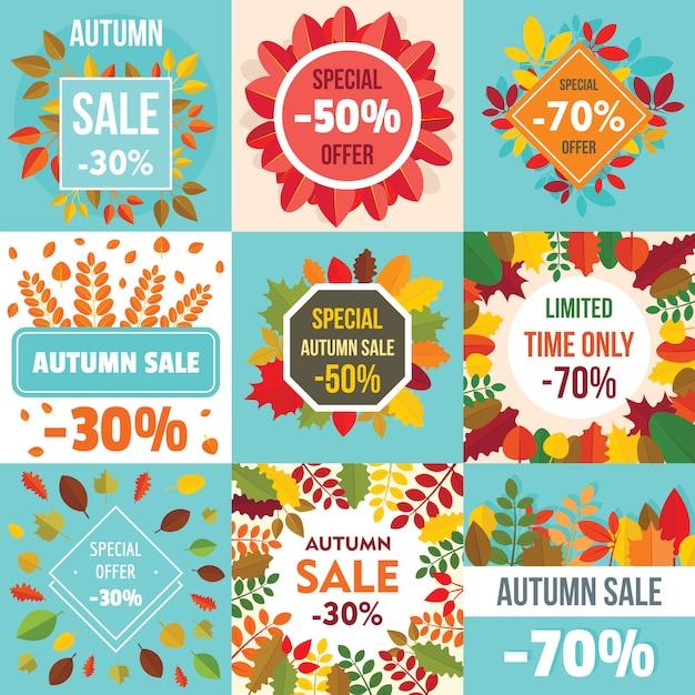 Soldes d'automne feuilles. bannière concept défini Vecteur Premium