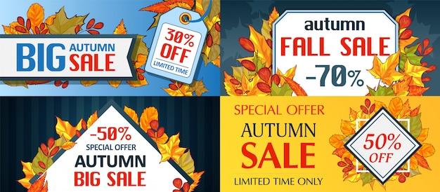 Soldes d'automne feuilles. halloween et thanksgiving ensemble de concept de saison de saison d'automne Vecteur Premium