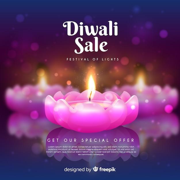Soldes du festival de diwali avec de belles bougies roses Vecteur gratuit
