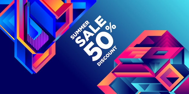 Soldes d'été 50% de réduction bannière colorée abstraite géométrique Vecteur Premium