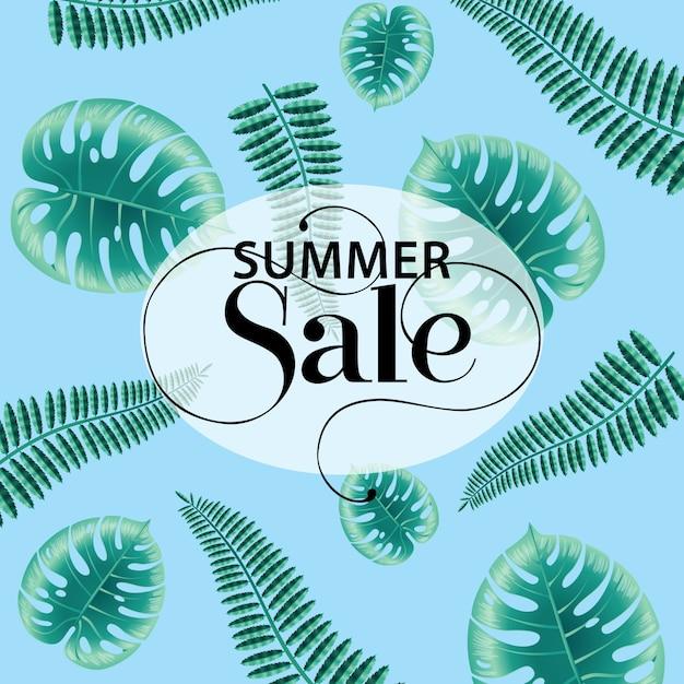 Soldes d'été, affiche bleue avec des feuilles de monstera et de fougère. Vecteur gratuit